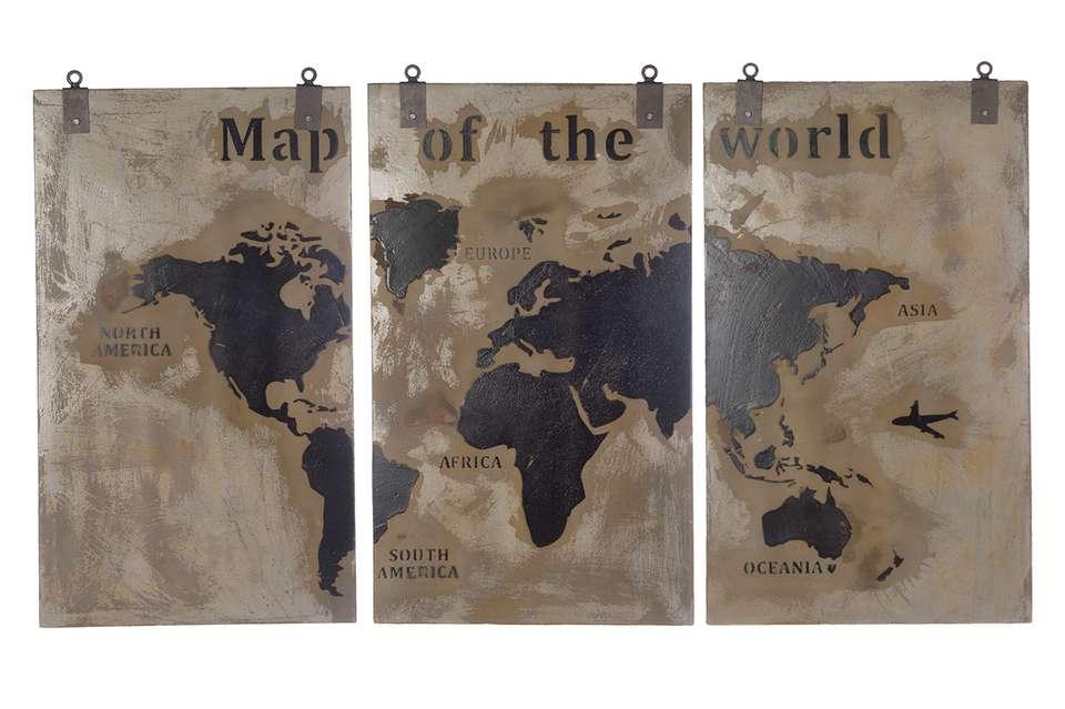 Houten Wandpanelen Slaapkamer : Houten wereldkaart 3 luik afgewerkt met een betonlaag