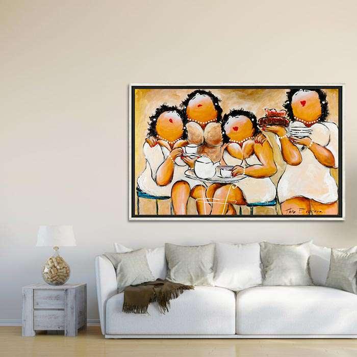 dikke dames schilderij dames in het wit wanddecoratie