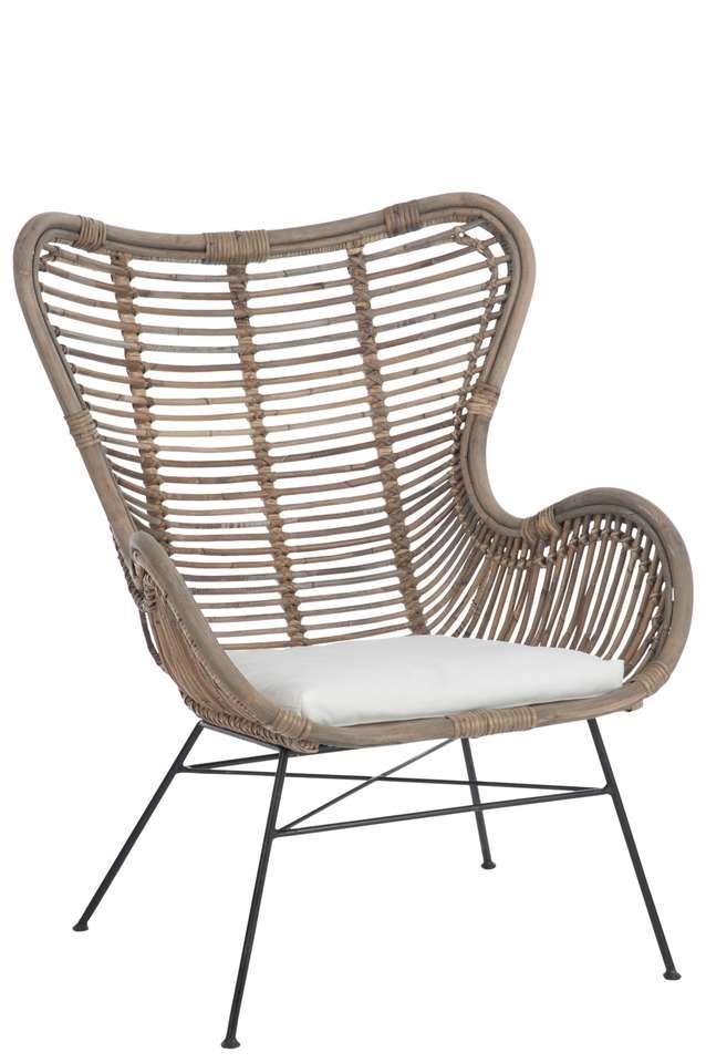Iets Nieuws Rotan stoel met kussen - Stoelen - Loods 5 #RS82