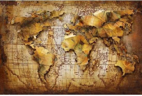 Wanddecoratie Wereldkaart Metaal.3d Metaalschilderij Wereldkaart Artikelen Loods 5