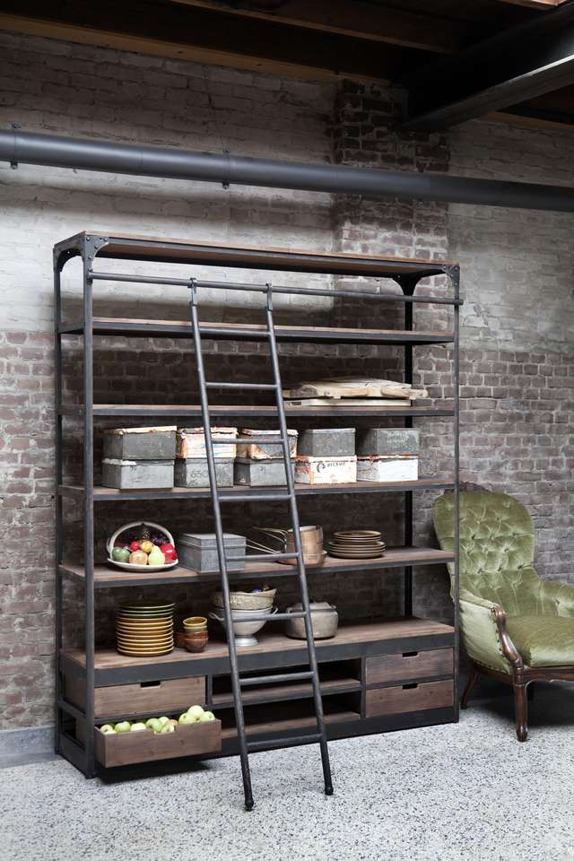 Boekenkast Industrieel Met Ladder Van Rootsmann