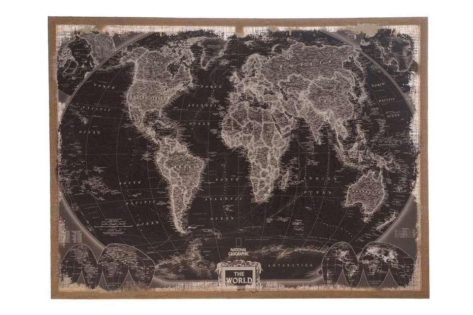 Wonderbaar Zwarte wereldkaart op linnen - Wanddecoratie - Loods 5 EI-86